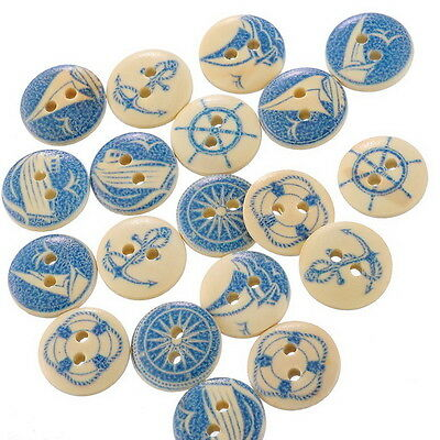 50PCs Crafts Mixed Wood Sewing Buttons Yachting Collections Scrapbooking 15mm