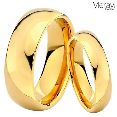 His & Hers Tungsten Gold Polish Dome Mens Womens Wedding Band Promise Ring SET