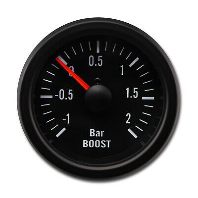100% Made in Taiwan 52mm Black Rim Mechanical Boost Gauge