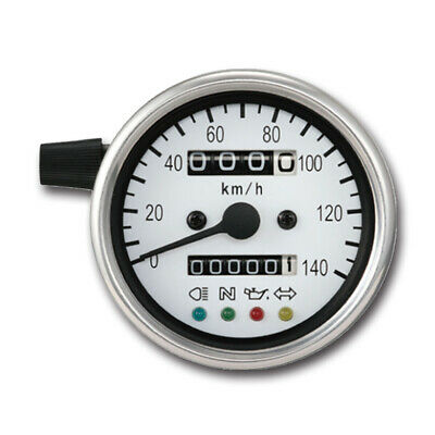 60mm White Face Mechanical Motorcycle Speedometer Gauge with indicator (K=1.4)