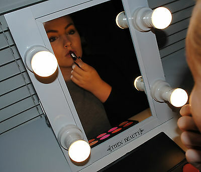 Hollywood Makeup Lights Vanity Lighted Theatre Beauty Mirror White 4 Bulb