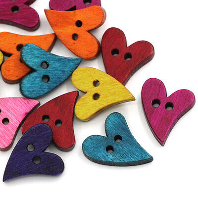 100PCs Crafts Wood Sewing Buttons Scrapbooking Heart Love 2 Holes Mixed