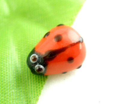 20Pcs HOT SALE Ladybug LAMPWORK Glass SPACER BEADS Red 15x10mm