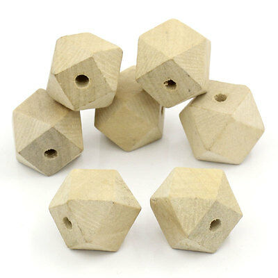 """20 HOT SALE PCs Wood SPACER BEADS Polygon Natural 26.5mmx20mm(1""""x 6/8"""")"""