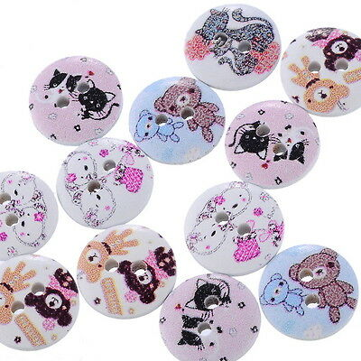 """100PCs Crafts Wood Sewing Buttons 2 Holes Animal Round Mixed 5/8""""Dia.B24572"""