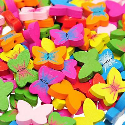 70PCs HOT SALE Wooden Loose BEADS Charm Butterfly Pattern Mixed 20mm x15mm NEW
