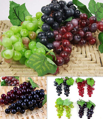 Bunch LO Lifelike Artificial Grapes Plastic Fake US Fruit Food Home Decoration
