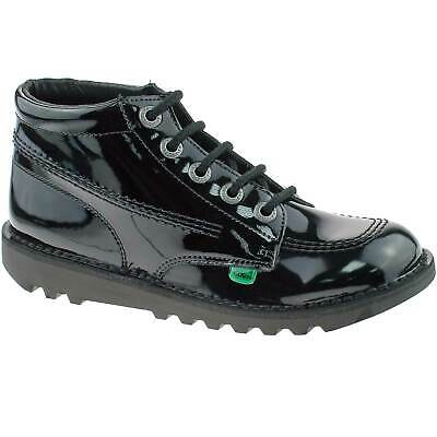 Girls Kids Kickers Kick Hi Black Patent Leather Lace Up School Shoes Kf0000409
