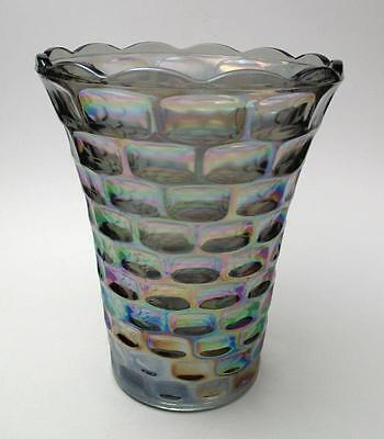 Large Vintage Colonial Pattern Carnival Glass Vase By Federal Glass Company