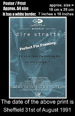 Dire Straits live concert Sheffield Arena 31st August 1991 A4 size poster print