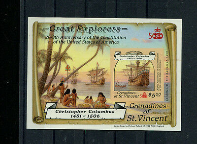 St Vincent Grenadines 1988 Columbus Explorers Scott 604-5 UNIQUE IMPERF PROOFS