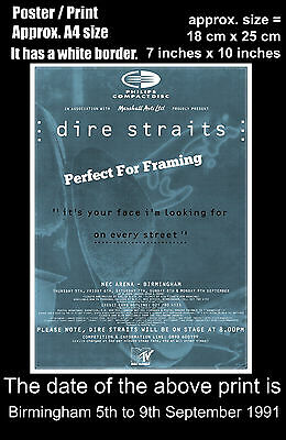 Dire Straits live concert Birmingham 5 to 9 September 1991 A4 size poster print
