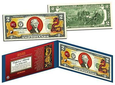 Chinese Zodiac * YEAR OF THE SNAKE * Colorized $2 Bill US Lucky Money New Lunar