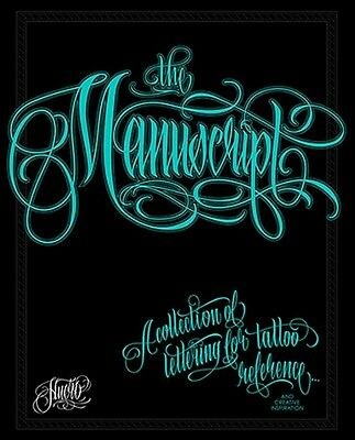 THE MANUSCRIPT Lettering Collection Tattoo Flash Book by Huero (40-Pages)