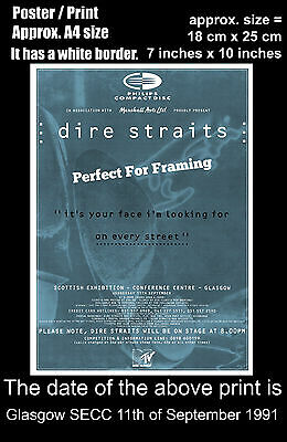Dire Straits live concert Glasgow SECC 11th September 1991 A4 size poster print