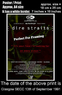 Dire Straits live concert Glasgow SECC 13th September 1991 A4 size poster print