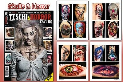 SKULL & HORROR TATTOO Reference Book 65-pages Color Photo Design Face Supply