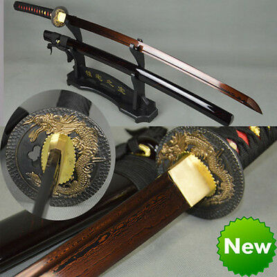 Handmade damascus folded steel Japanese samurai sword blood red blade katana