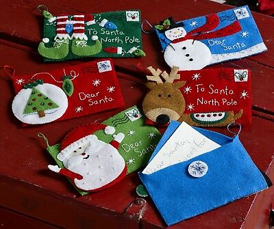 bucilla letters to santa envelopes 6 pce felt christmas ornament