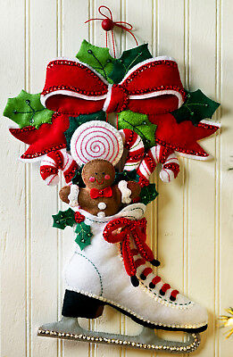 Bucilla Holiday Skate ~ Felt Christmas Wall Hanging Kit #86676 Skater Candy Cane