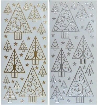 TREES & STARS Peel Off Stickers Christmas Tree Swirls Card Making Silver or Gold