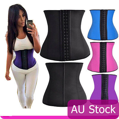 Women Latex Waist Trainer Training Shaper Shapewear Cincher Underbust Corset AU