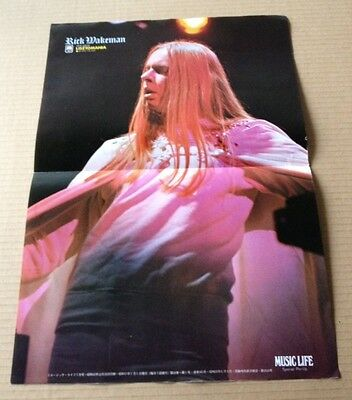 1976 Rick Wakeman photo vintage JAPAN magazine pin-up poster / Yes RARE 01m