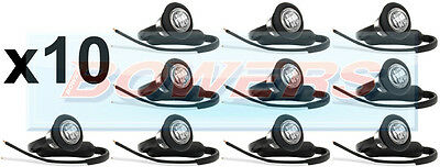10x 12V/24V FRONT WHITE/CLEAR SMALL ROUND LED BUTTON MARKER LAMPS/LIGHTS TRUCK