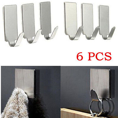 6X Adhesive Kitchen Wall Door Stainless Steel Stick Holder Hook Hanger LOUS