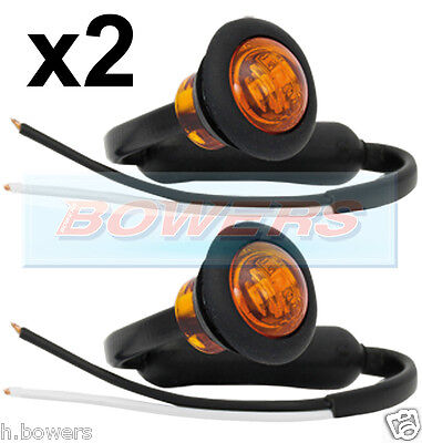 2x MULTIVOLT AMBER SMALL ROUND LED BUTTON SIDE MARKER LAMPS/LIGHTS TRUCK LORRY