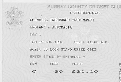 ENGLAND v AUSTRALIA, 19th August 1993, Test Match Ticket (Excellent Condition)