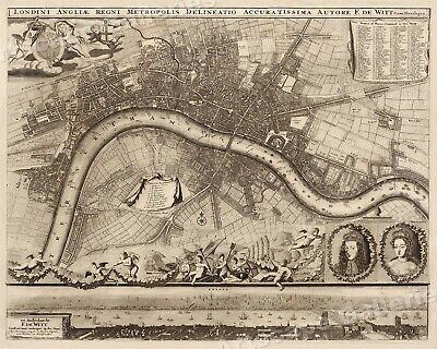 London 1693 Historic Old Township Map - 16x20