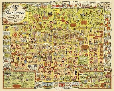 1928 Hollwood Places of Interest Historic Old Map - 24x30