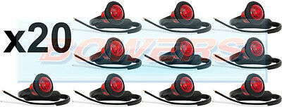 20 x 12V/24V RED SMALL ROUND LED BUTTON REAR MARKER LAMPS/LIGHTS UNIVERSAL TRUCK