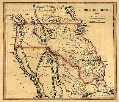 1814 Missouri Territory Historic Vintage Map - 24x28