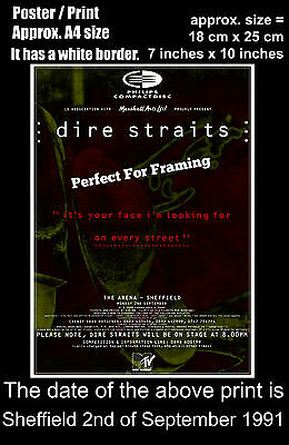 Dire Straits live concert Sheffield Arena 2 September 1991 A4 size poster print