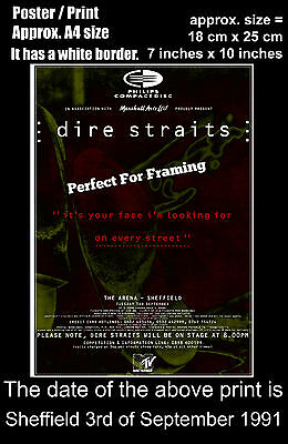 Dire Straits live concert Sheffield Arena 3 September 1991 A4 size poster print
