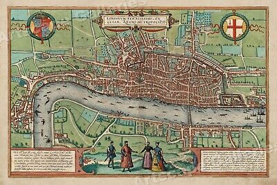 1560's London Interesting Old Historic Map - 20x30