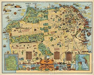 1927 Pictorial Map of San Francisco Historic Map - 20x24