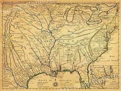 1718 Lousiana Territory & Mississippi River Historic Map - 24x32