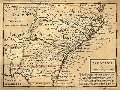 Carolina 1732 Interesting Old Historic Map - 18x24