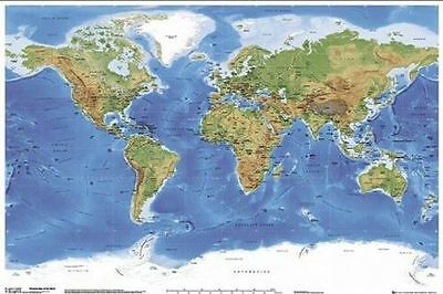 WORLD MAP SATELLITE POSTER (61x91cm) EDUCATIONAL CHART PICTURE PRINT NEW ART