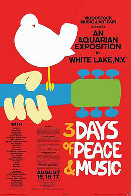 "Woodstock POSTER ""3 Days Of Peace & Music, White Lake"" BRAND NEW Licensed Art"
