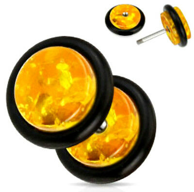 Pair Solid Synthetic Amber Fake/Cheater Plug with O-Ring,16ga or 18 gauge(PFXAM)