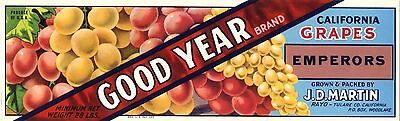 Crate Label Good Year Jd Martin Tulare Rayo 1940S Wine Original Vintage Vinter