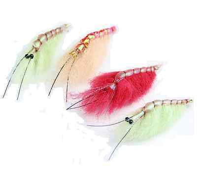 4pcs Dry Shrimp Fishing Flies Prawn Trout Large Flies Fly Fishing