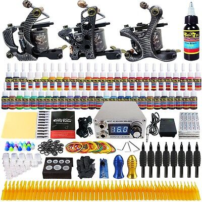 Solong Tattoo Complet Kit de Tatouage 3 Machine à Tatouer 54 Encre Alimentation