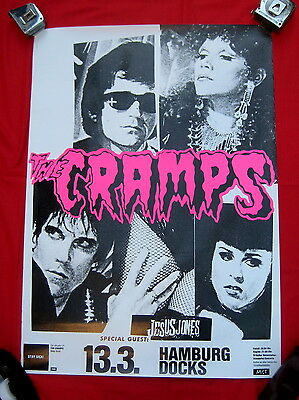 Cramps the 1990 german punk tour poster Hamburg Docks mint condition