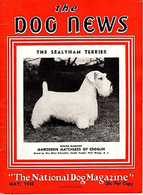 Vintage Dog News Magazine May 1940 Sealyham Terrier Cover