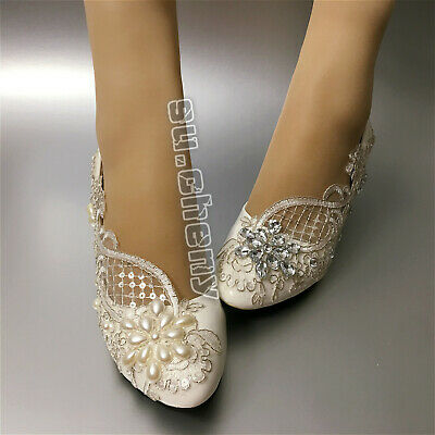 Lace white ivory crystal Wedding shoes Bridal flats low high heel pump size 5-12